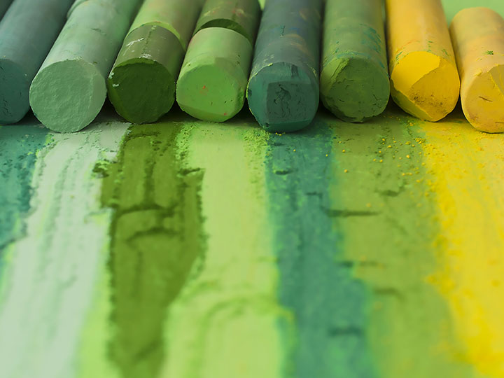 shades of green yellow chalks