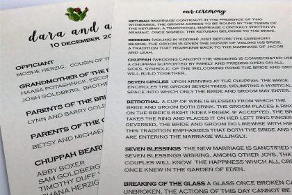 desert inspired wedding program custom designed in unlimited colors